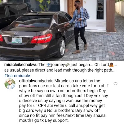 #BBNaija Lady Calls Out Miracle For Showing Off Benz After Deceiving Poor Fans