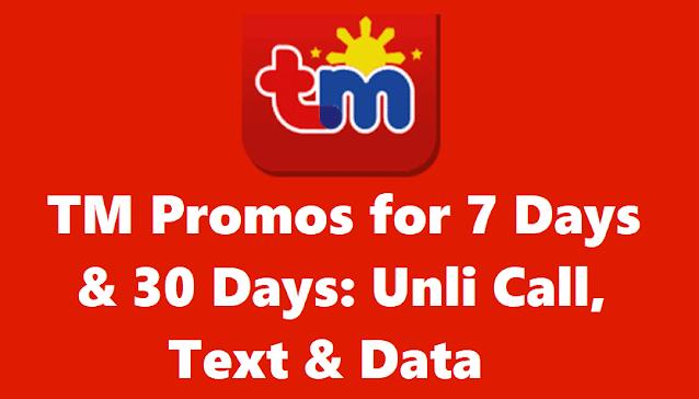 TM Promos for 7 Days & 30 Days