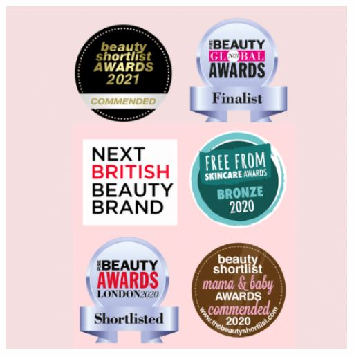 Beauty Cleanse Skincare awards including Beauty Shortlist, Free From, and more!