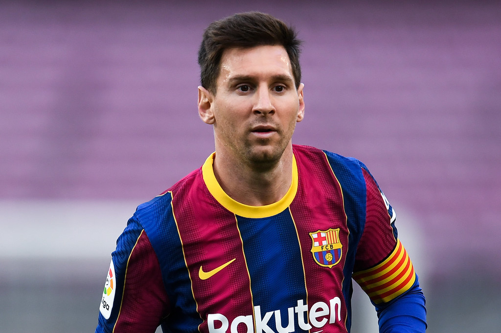 Lionel Messi of FC Barcelona looks on during the La Liga Santander match between FC Barcelona and RC Celta at Camp Nou on May 16, 2021 in Barcelona, Spain