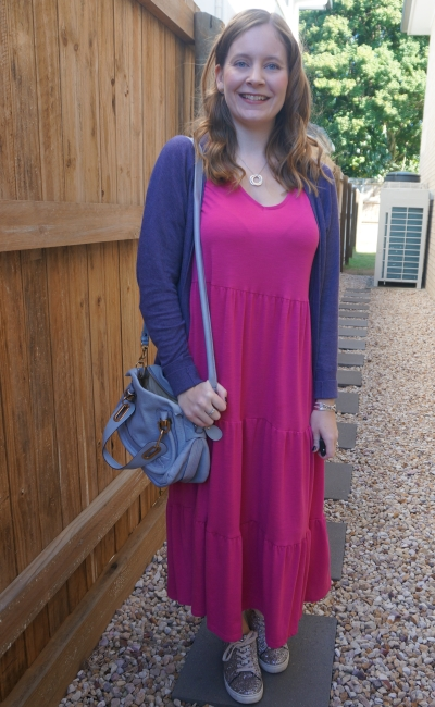 purple cardigan with Kmart short sleeve tiered jersey dress in Fuchsia glitter sneakers and Chloe paraty bag | awayfromblue