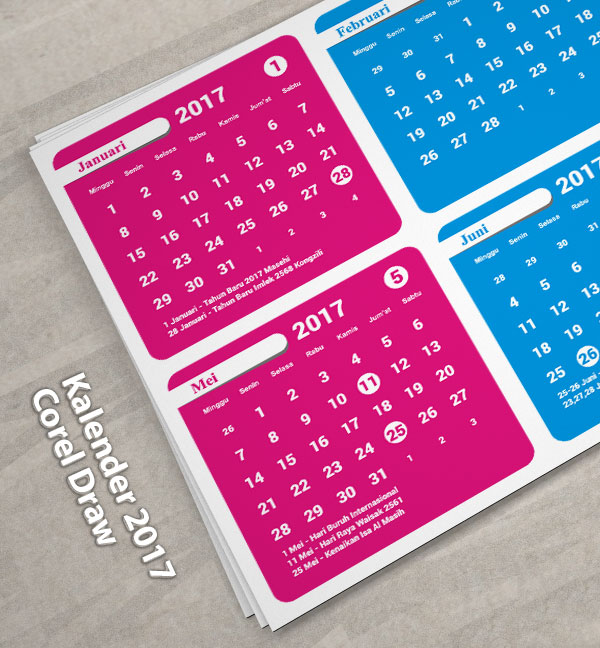 download Kalender 2017 Full Color Desain warna warni