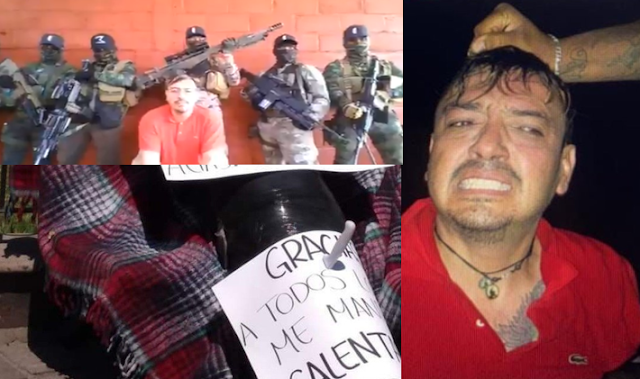 """Fotos; Aparece en Tlaquepaque con Narcomensajes clavados el cuerpo de """"El Cholo"""" Ex-Mano Derecha del Mencho que fue levantado e interrogado en Video por el CJNG"""