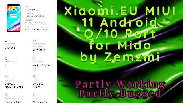Xiaomi EU MIUI 11 Android Q/10 Port for Mido by Zemzmi