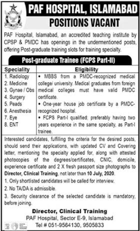 PAF Hospital Jobs 2020