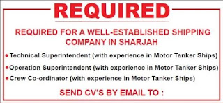 Urgently Required Staff For Emirates Shipping company LLC Shipping Company in Sharjah (UAE)