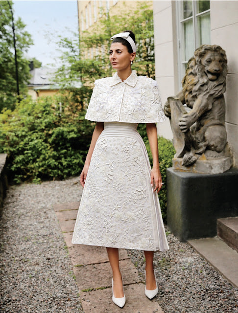 Giovanna Battaglia in Thom Brown wedding dress