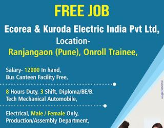 Job Requirement for 10th 12th Pass, Graduate, ITI, Diploma Candidates for Reputed MNC company at Ranjangaon, Maharashtra