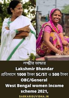 Lakshmir Bhandar scheme apply 2021(লক্ষ্মীর ভান্ডার প্রকল্প) Laxmi Bhandar Prakalpo apply west bengal