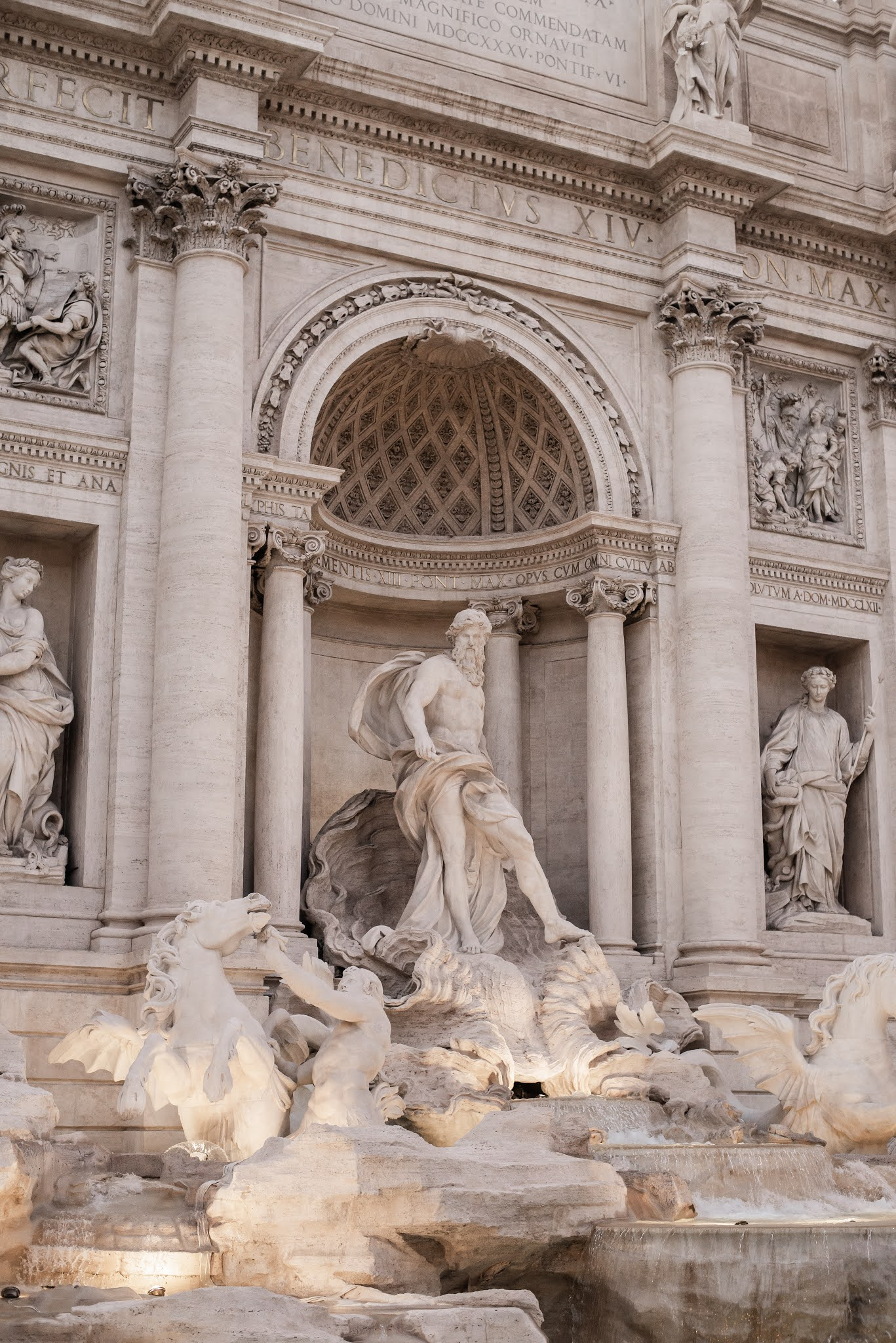 central sculpture of trevi fountain in rome