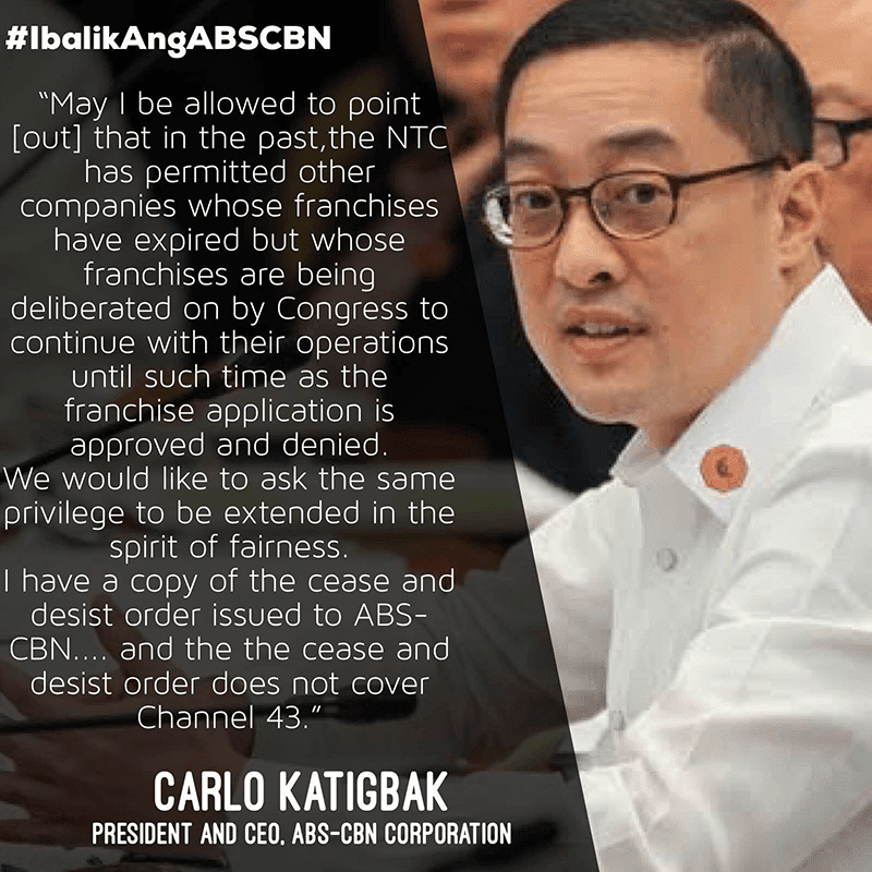 Statement of ABS-CBN Corporation President and CEO Carlo Katigbak