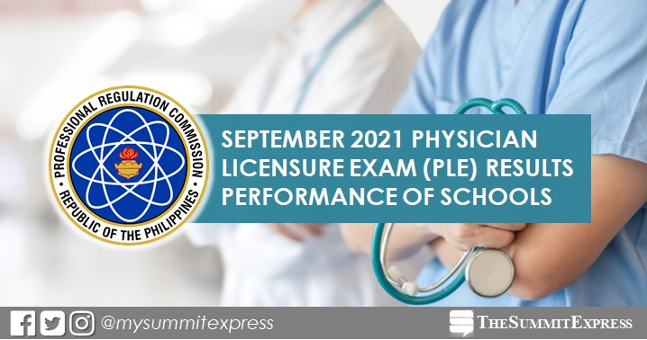 RESULTS: September 2021 Physician board exam PLE performance of schools
