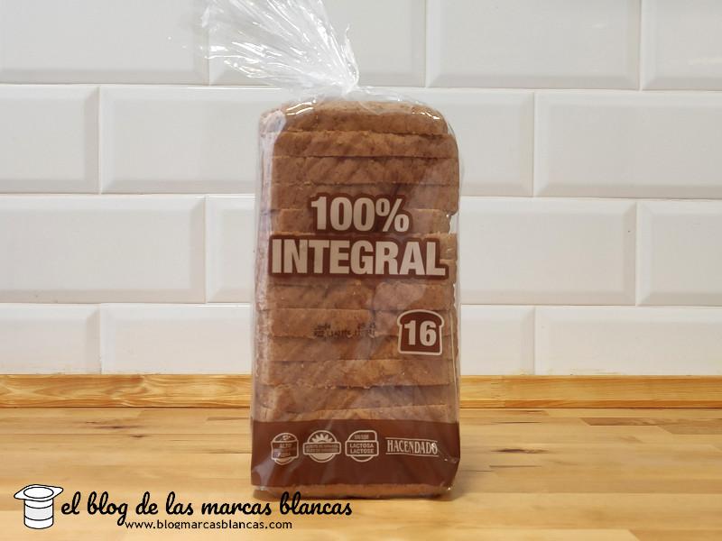 Pan de molde 100% integral (con corteza) HACENDADO (Mercadona) en El Blog de las Marcas Blancas.