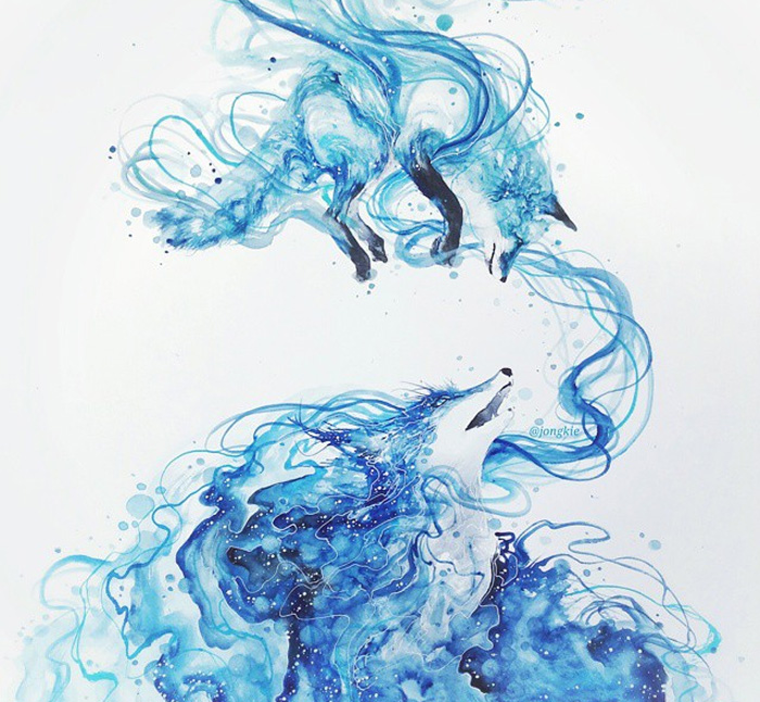 20-Timescape-Luqman Reza jongkie-Painting-Fantasy-worlds-with-Flowing-Watercolor-Animals-www-designstack-co