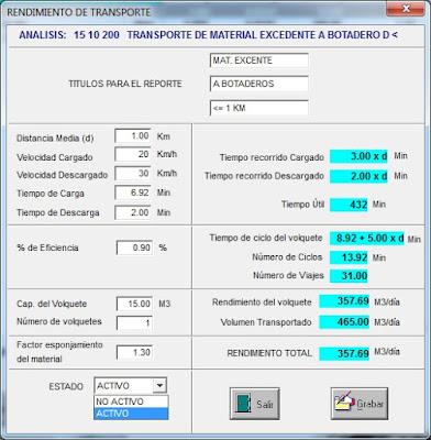 Cálculo de Rendimiento de Transporte