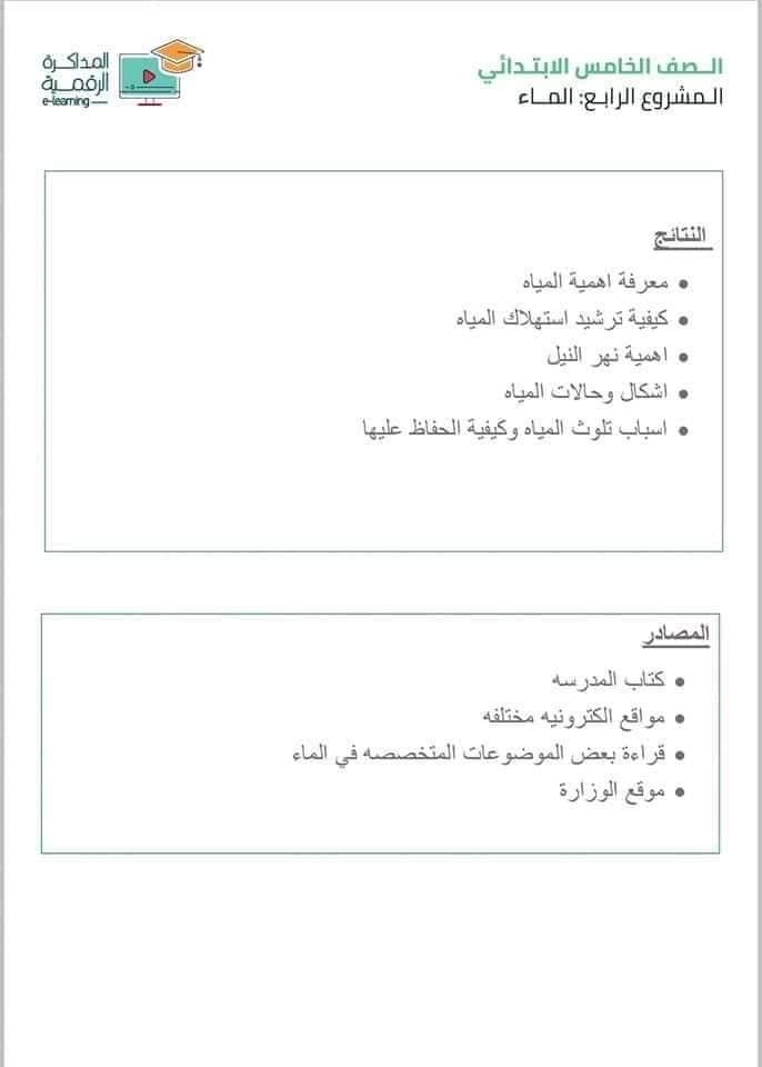 3 أبحاث عن الماء و السياحة والطاقة للصف الخامس الابتدائي 7