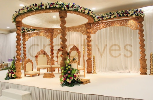 Budget friendly wooden carved mandap