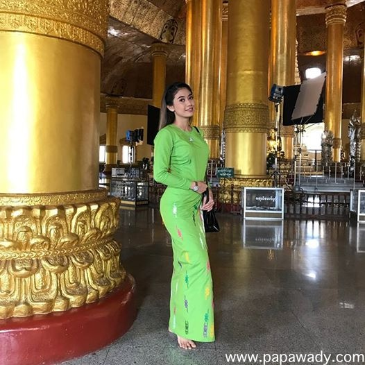Pretty Thinzar Wint Kyaw In Green Fashion Myanmar Dress