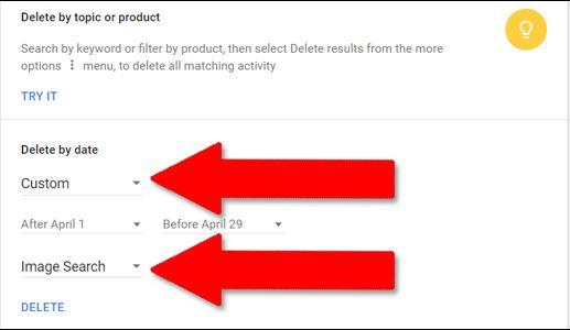 custom delete google's history
