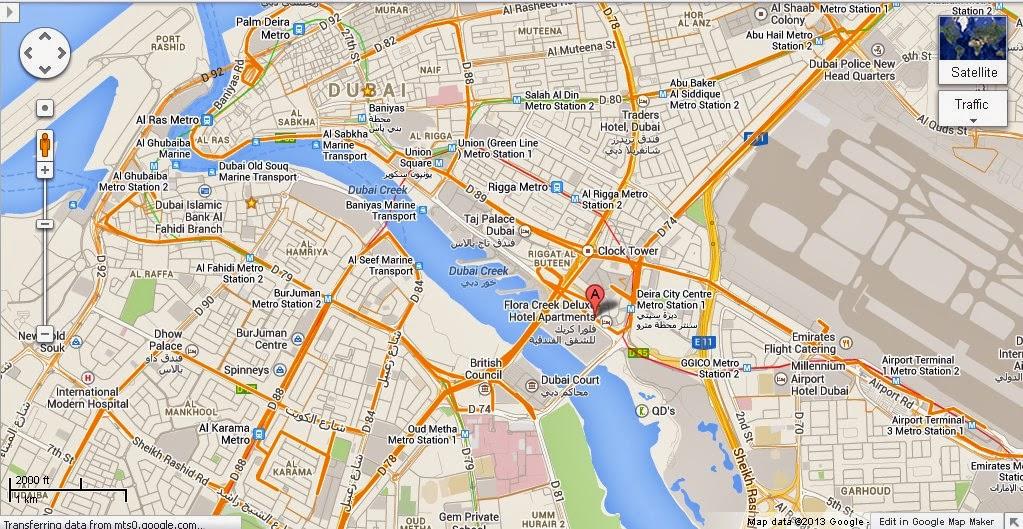 UAE Dubai Metro City Streets Hotels Airport Travel Map Info: Detail Dubai Creek Golf and Yacht ...