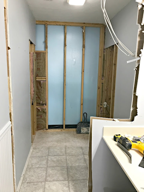 Taking down wall in bathroom