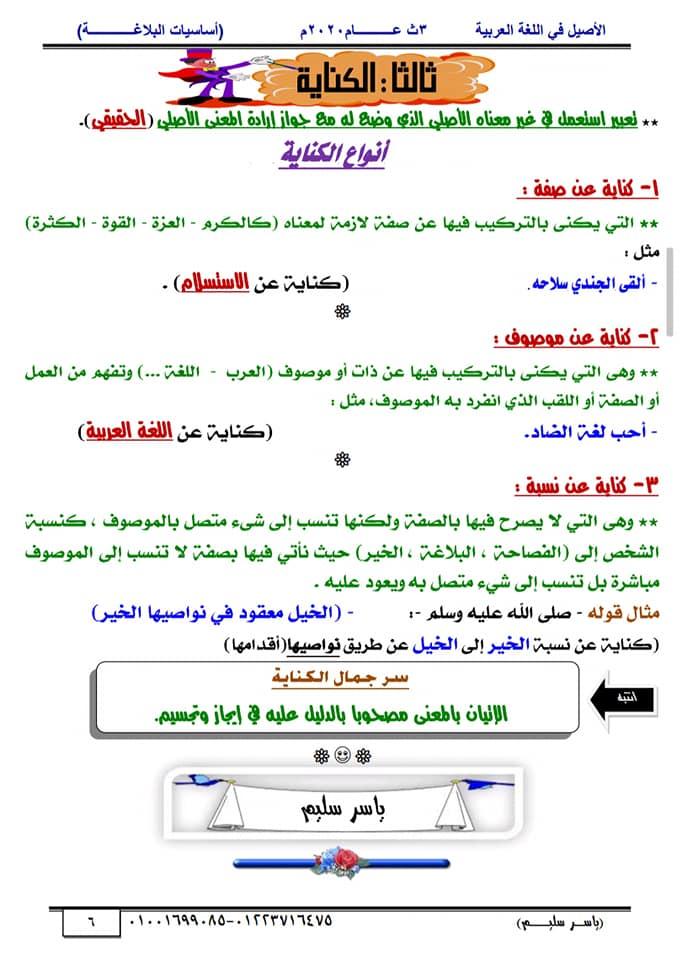 أساسيات البلاغة للثانوية العامة في١٥ورقة أ/ ياسر سليم 6