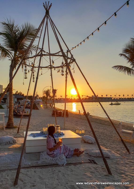 sunset in Fish Beach Taverna Dubai