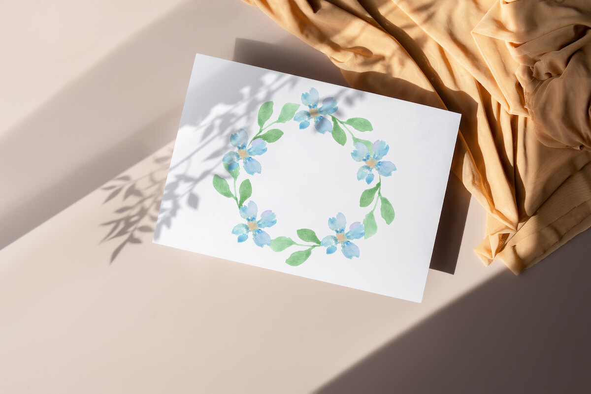 blue floral wreath illustration