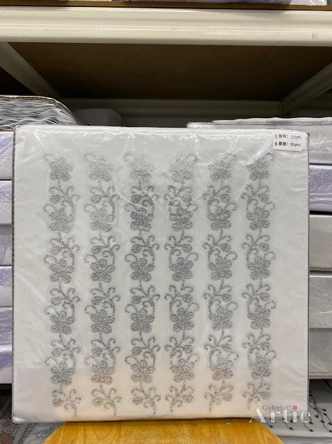 Sticker hotfix rhinestone DMC 6 jalur aplikasi tudung, bawal & fabrik pakaian motif bunga penuh