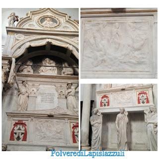 Sepolcro in marmo con statue, bassorilievo e lapide commemorativa