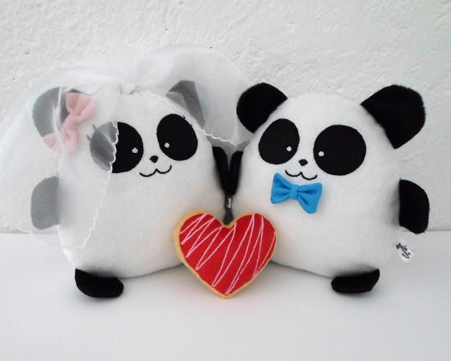 Pareja de boda personalizada, pandas de peluche guyuminos novios kawaii regalo aniversario