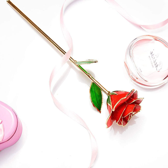 24k gold rose 10 wedding anniversary gift idea