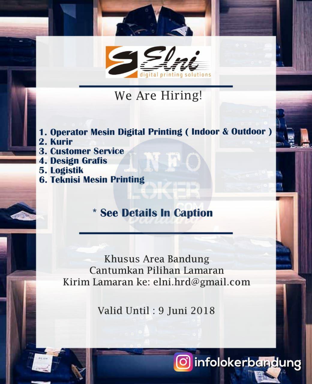 Lowongan Kerja PT. Elni Digital Printing Solution Bandung Juni 2018