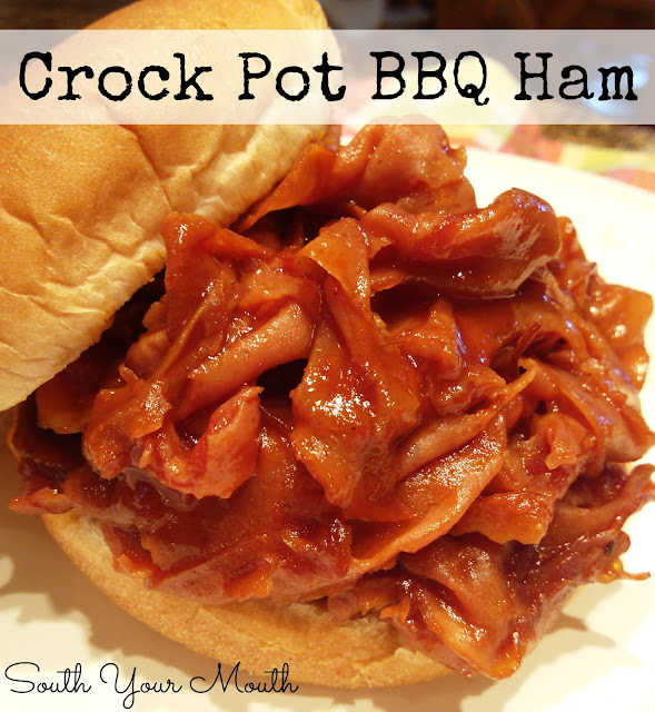Shaved or chipped ham with tangy barbecue sauce cooked in the slow cooker or crock pot.