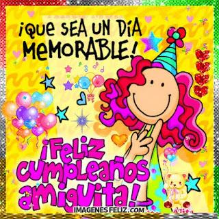 Feliz Cumpleaños Amiguita Tarjeta colorida Mujer con bonete y globos