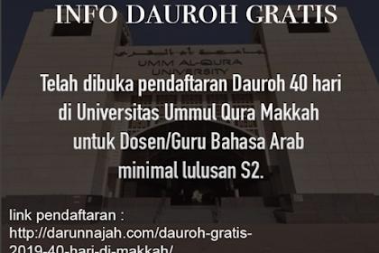 Info Dauroh Gratis Di Universitas Ummul Qura