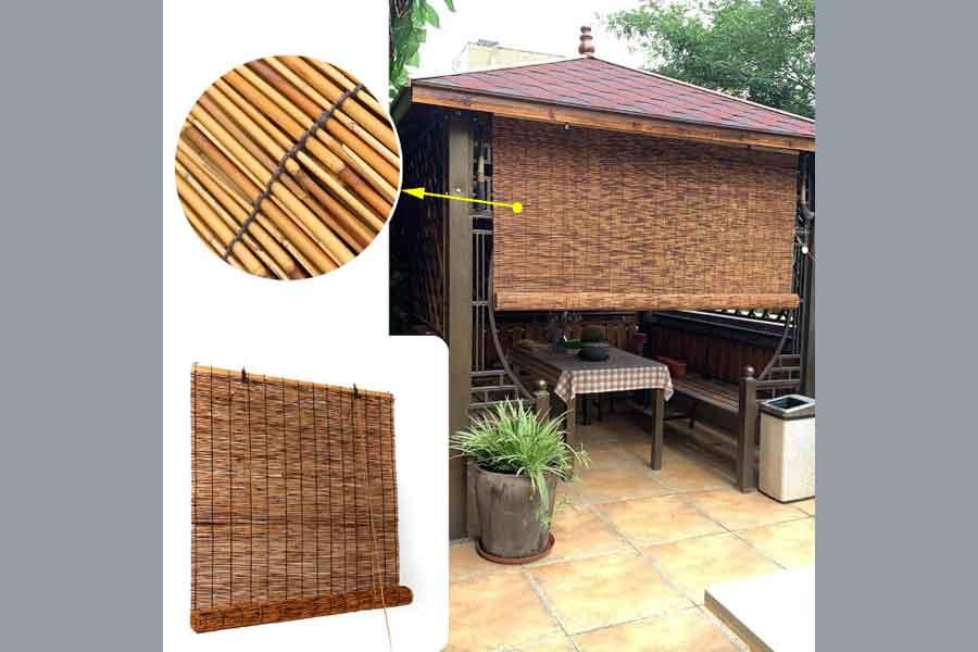 ide dekorasi dapur terbuka dengan tirai bambu