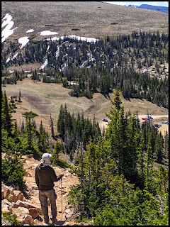 Hubby heading down the trail