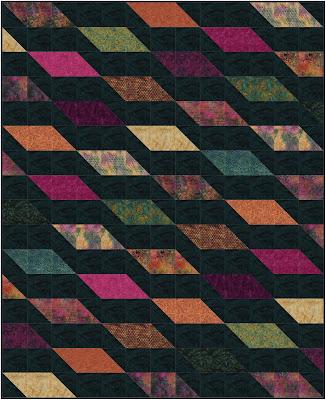 Rockslide quilt in Peacock Plumes fabrics by Island Batik