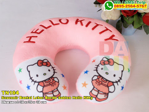 Souvenir Bantal Leher Bordir Sablon Hello Kitty