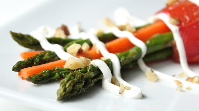 Roasted Asparagus Carrot Bundles with Walnuts and Goat Cheese Drizzle