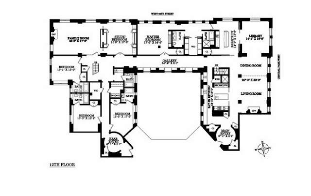 Floor plan of a New York City penthouse