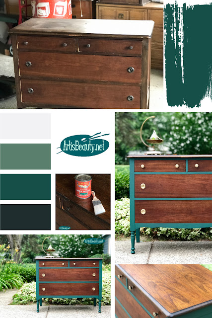 Westminster Green Vintage Dresser Makeover using General Finishes Milk Paint collage