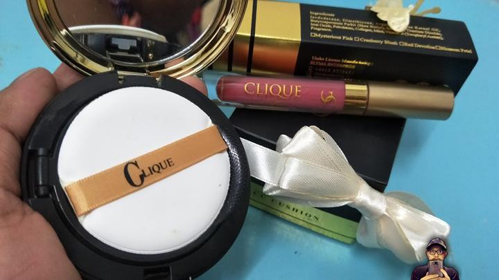 Set lipstik dan bedak asas dari Clique