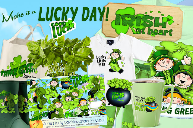 You'll find Annie Lang's green Lucky Day Kids clipart characters and more at Creative Market!