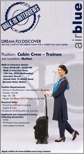 Air Blue Crew Trainee and other jobs 2020