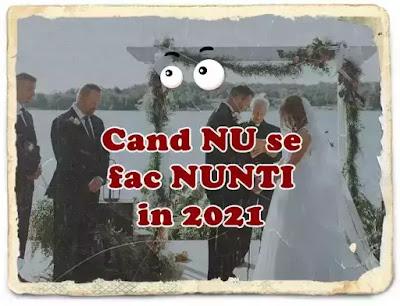 2021 zilele cand nu se fac nunti calendar ortodox