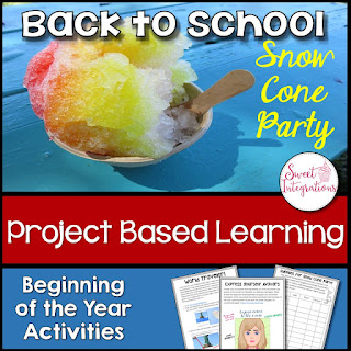 Cover Page for Project Based Learning Beginning of the Year Activities