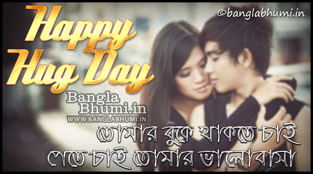 Happy Hug Day Bengali Wishing Wallpaper Free