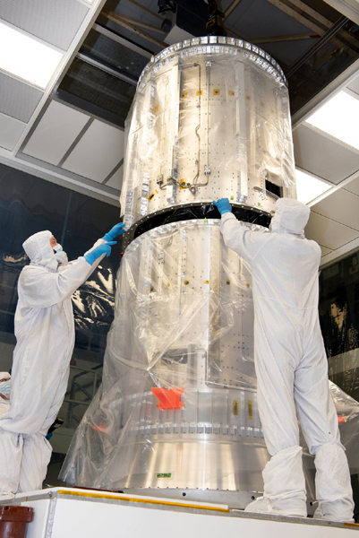 At NASA's Goddard Space Flight Center in Greenbelt, Marlyand, engineers inspect components of the propulsion module that will fly on the Europa Clipper spacecraft in late 2024.